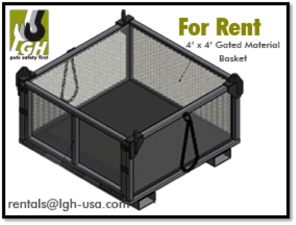 4x4x2 Gated Material Basket